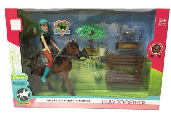 Koń z jeźdźcem i akcesoriami