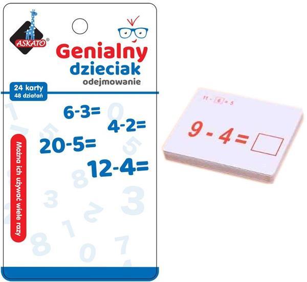 Genialny dzieciak -fiszki matematyczne odejmowanie