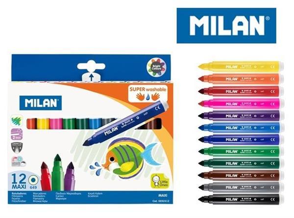 Flamastry maxi Super Washable 12 kolorów MILAN