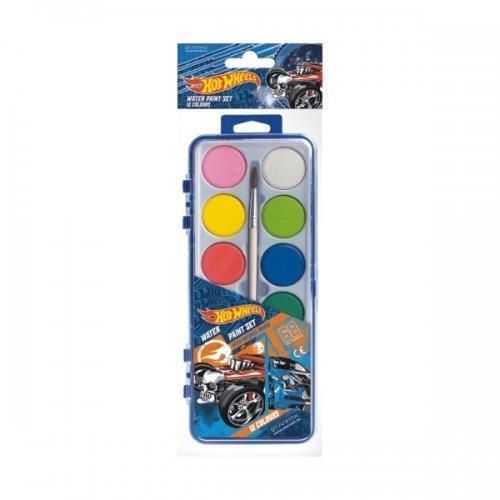 Farby akwarelowe 12 kolorów Hot Wheels
