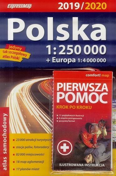 Atlas samochodowy Polska 2019/20 + Pierwsza pomoc