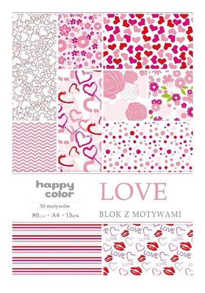 Blok A4/15 z motywami Love HAPPY COLOR
