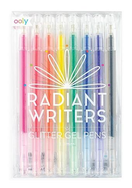 Długopisy żelowe z brokatem Radiant Writers (8szt)