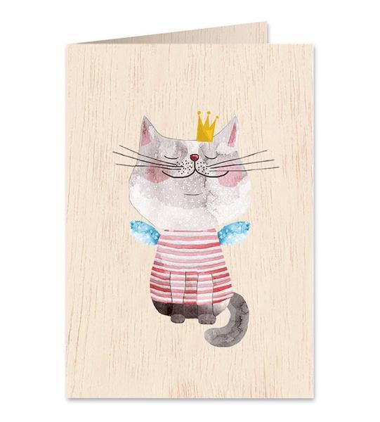 Karnet drewniany C6 + koperta Kot w koronie