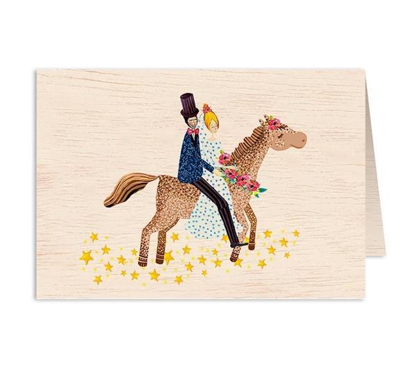 Karnet drewniany C6 + koperta Ślub koń