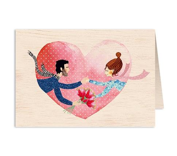 Karnet drewniany C6 + koperta Ślub bukiet i serce