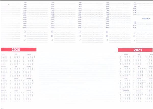 Kalendarz 2020 Biuwar B3 z listwą (52 kart)
