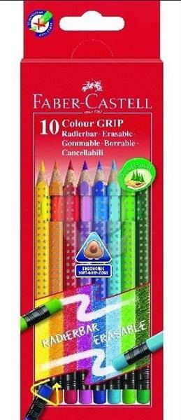 Kredki Grip z gumką 10 kolorów FABER CASTELL