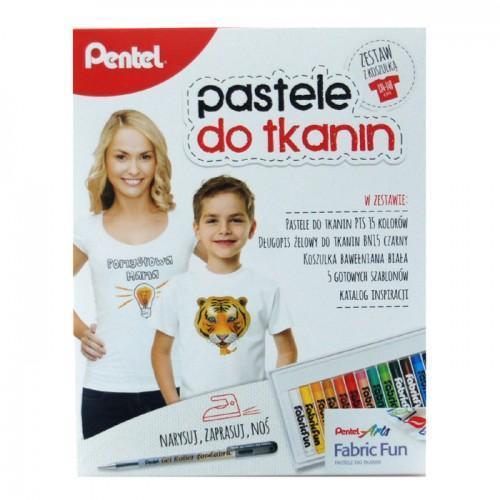 Kredki Pastele do tkanin 15 kol. z koszulką PENTEL