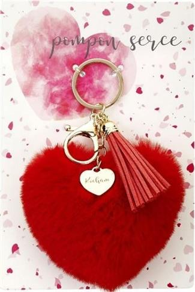Brelok - pompon serce. Kocham (czerwone)