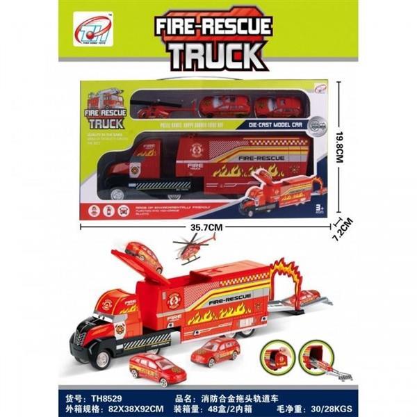 Duża ciężarówka straż pożarna z autami