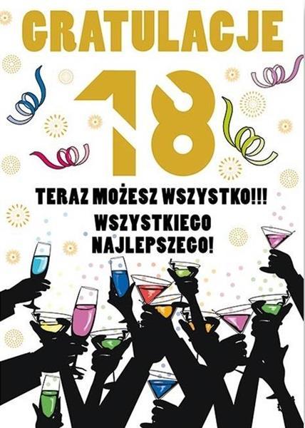 Karnet Party naklejany B6 koperta Urodziny 18 wz16-342153