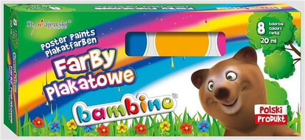 Farby plakatowe 8 kolorów 20ml BAMBINO