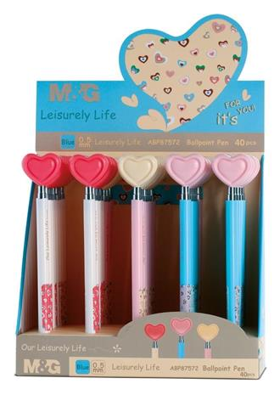 Długopis pstrykany Serce niebieski (40szt) M&G