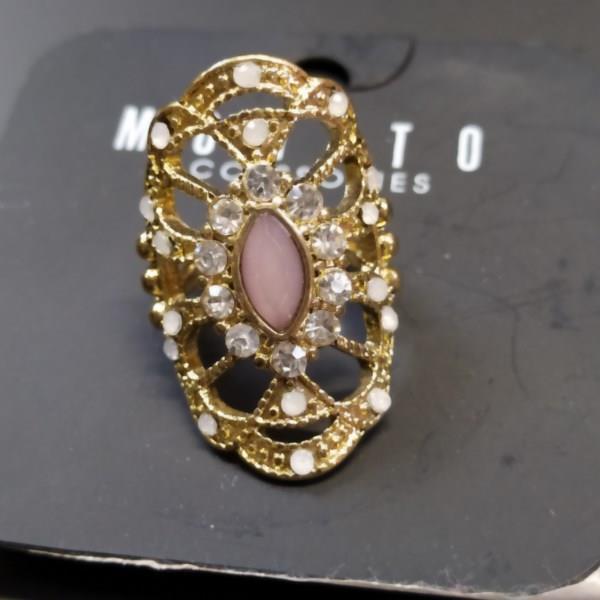 Markowy pierścionek złoty z cyrkoniami Mohito