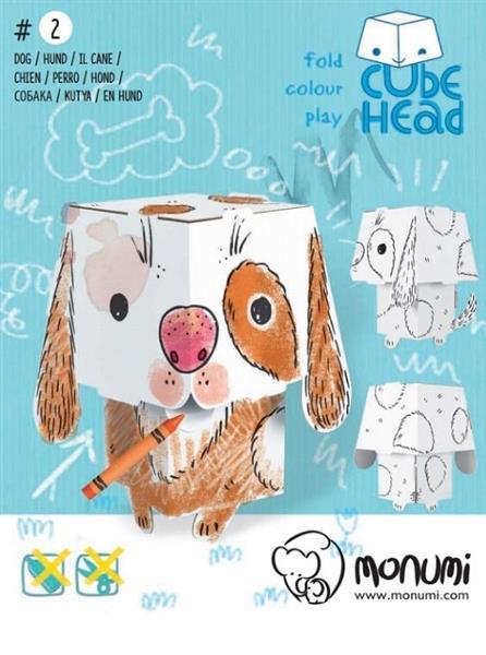 Pies. Cube Head. Złóż i pokoloruj