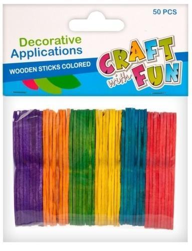 Ozdoba dek drewniane patyczki kolorowe 50el