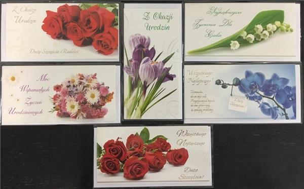 Karnet Flowers DL + koperta mix wzorów