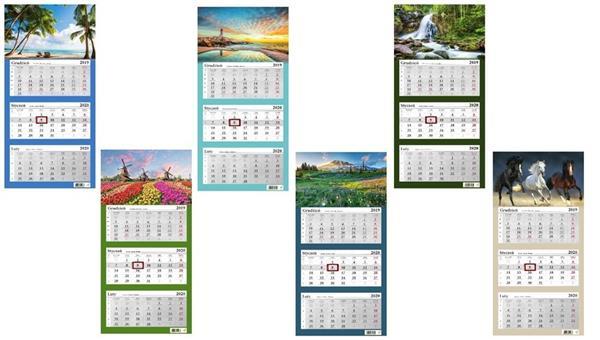 Kalendarz 2020 Trójdzielny mix 6 wzorów NARCISSUS