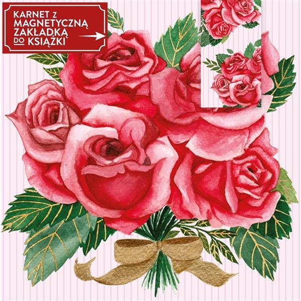Karnet + zakładka magnetyczna Róże