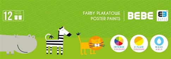 Farby plakatowe 12 kolorów B&B Kids NOSTER