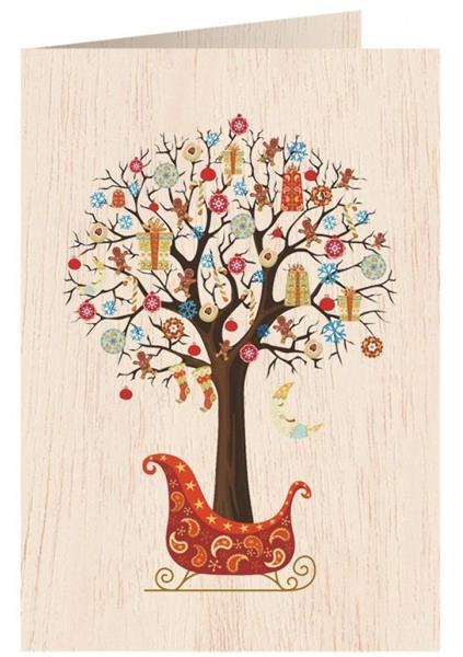 Karnet drewniany C6 + koperta Święta Drzewko
