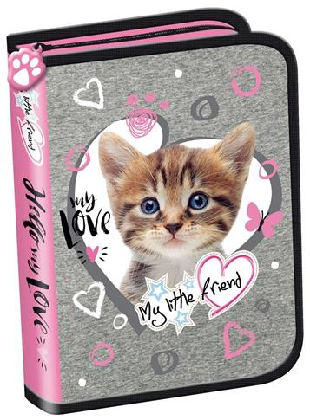 Piórnik dwuklapkowy b.w. My Little Friend Kot Pink