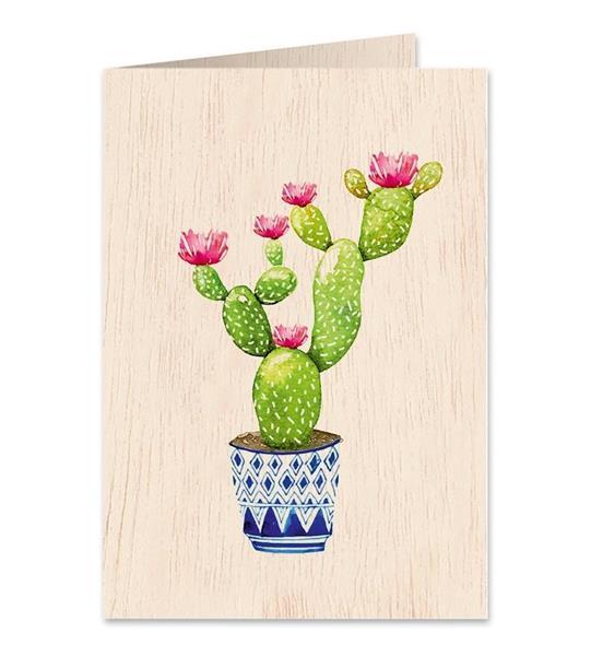 Karnet drewniany C6 + koperta Kaktus