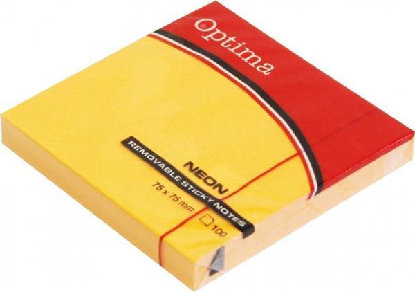 Karteczki samoprzylepne 75x75mm pomarańcz OPTIMA