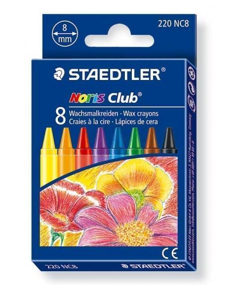 Kredki woskowe 8 kolorów Noris Club