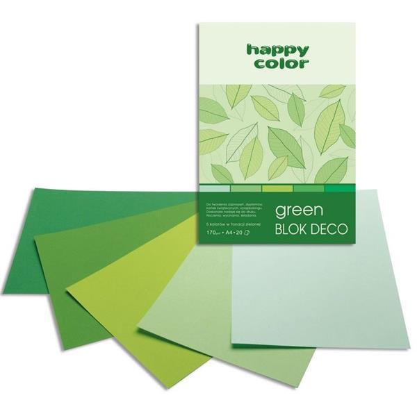 Blok A4/20K Deco Green 170g HAPPY COLOR