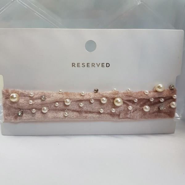 MARKOWY naszyjnik RESERVED choker różowy z perełka
