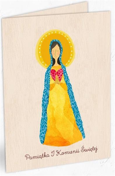 Karnet drewniany C6 Komunia Maria + koperta