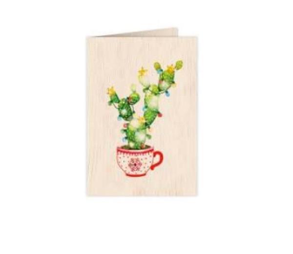 Karnet drewniany C6 + koperta Święta Kaktus