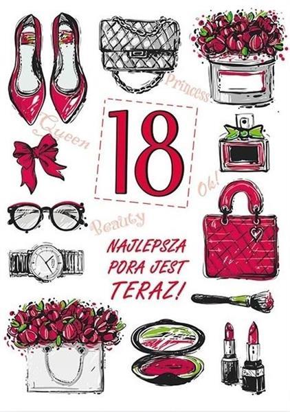 Karnet Party naklejany B6 koperta Urodziny 18 wz09-342165