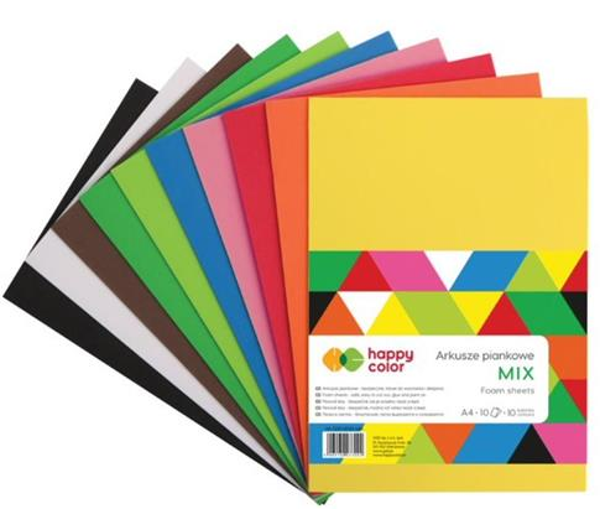 Arkusze piankowe A4/10K Mix 10 kolor. HAPPY COLOR