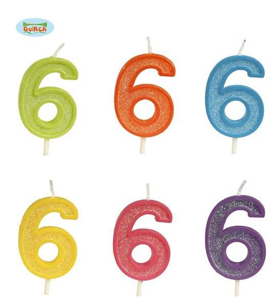 Brokatowa cyfra 6 świeczka na tort 4cm Mix kolorów