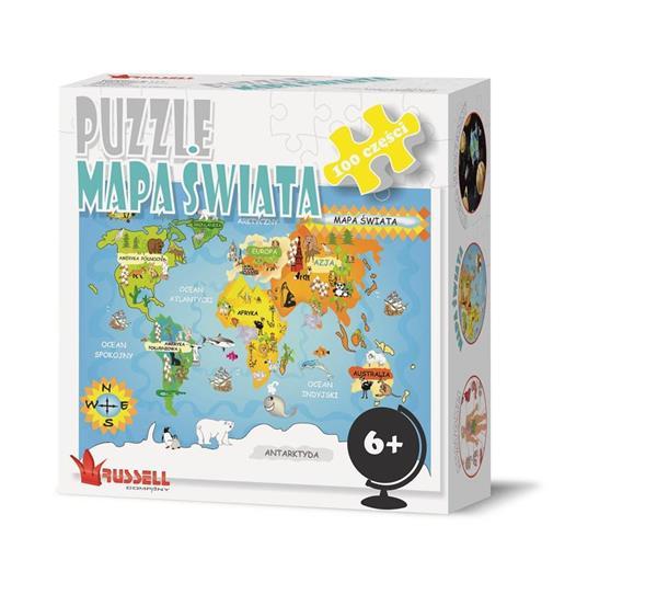 Puzzle 100 - Mapa Świata RUSSEL