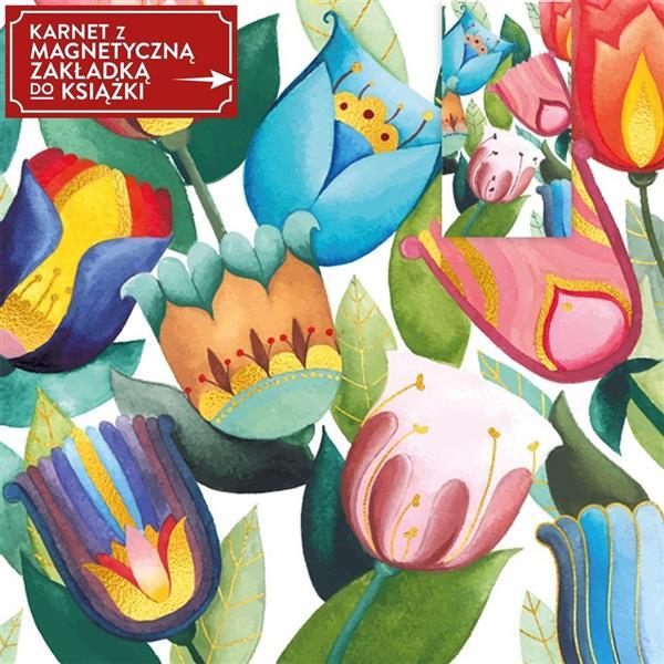 Karnet + zakładka magnetyczna Kwiaty N