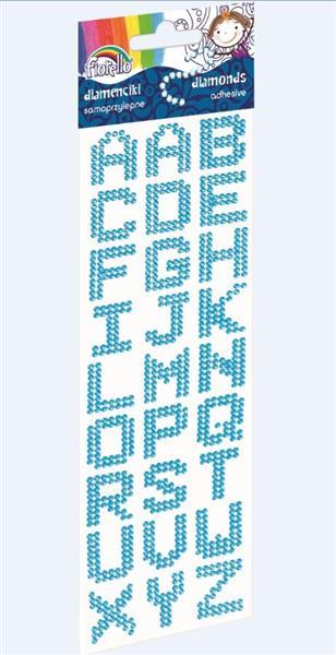 Diamenciki samoprzyl. literki niebieskie FIORELLO