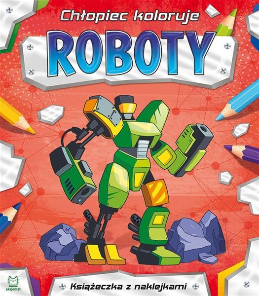 Chłopiec koloruje. Roboty