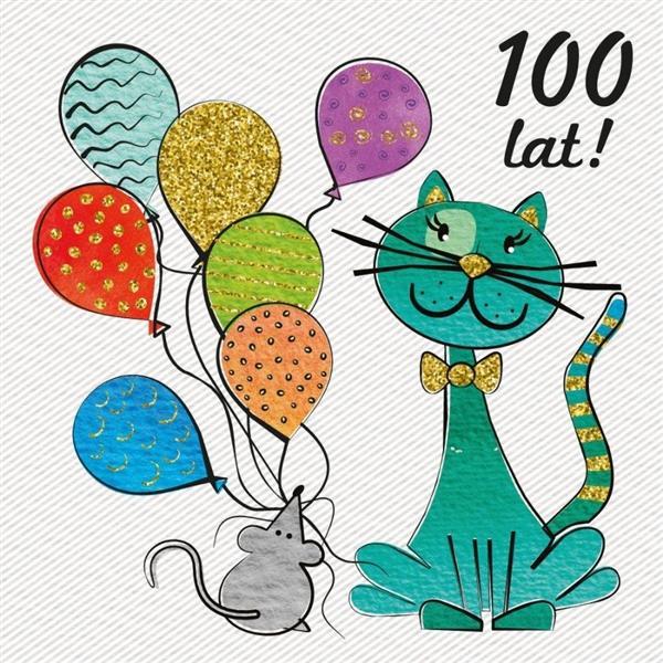 Karnet 155x155 Urodziny - Mysz i kot