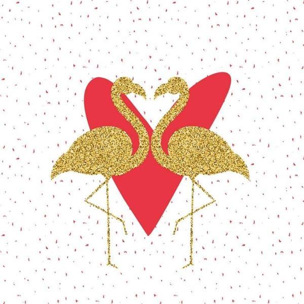 Karnet 155x155 Walentynki - Flamingi