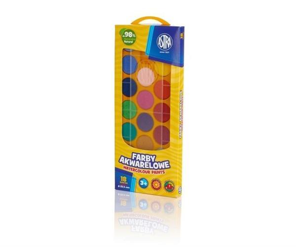 Farby akwarelowe fi 23.5mm 18 kolorów ASTRA