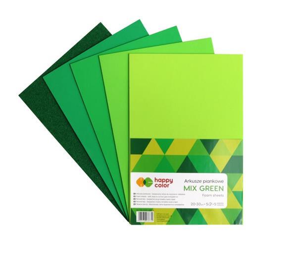 Arkusze piankowe A4 5 kolorów Mix Green mix