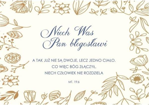 A Kartka Składana Ślub - Niech Was Pan