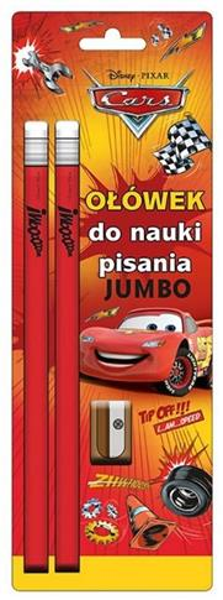Ołówek Jumbo 2szt + Temperówka Cars