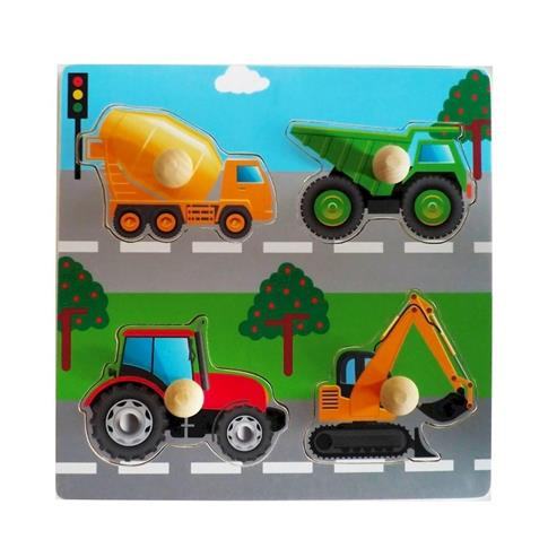 Układanka drewniana Pojazdy budowlane uchwyty
