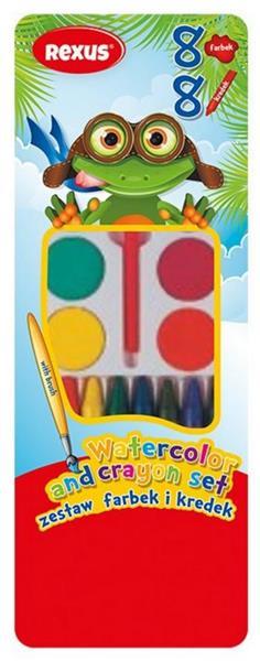 Farbki akwarelowe + kredki woskowe 8 kolorów