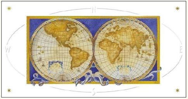 Karnet 12x23 G06 42A 317 + koperta Mapa Świata